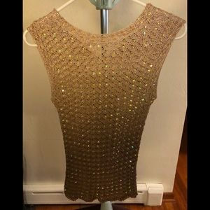 Gold crochet and sequin dress top